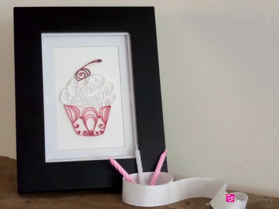 Quilling paper cupcake custom nursery art decoration