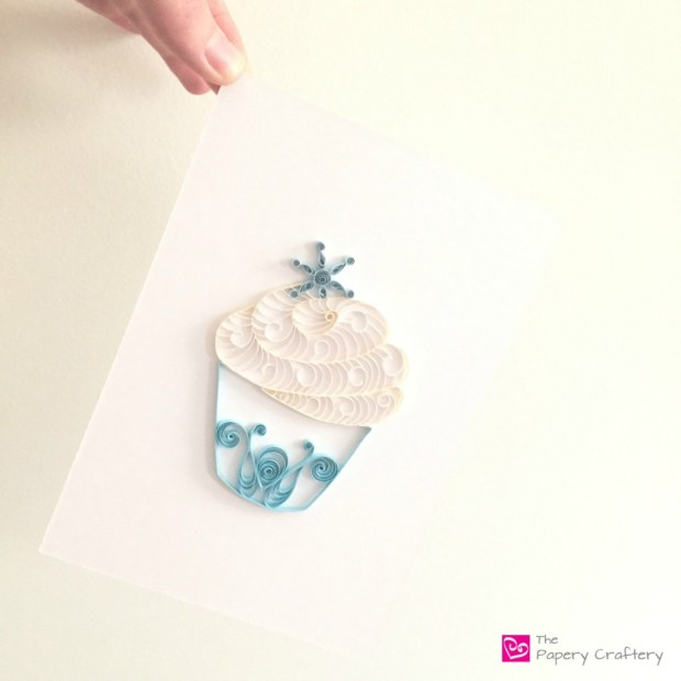 Ice Blue Quilled Paper Cupcake with Snowflake Frozen Inspired