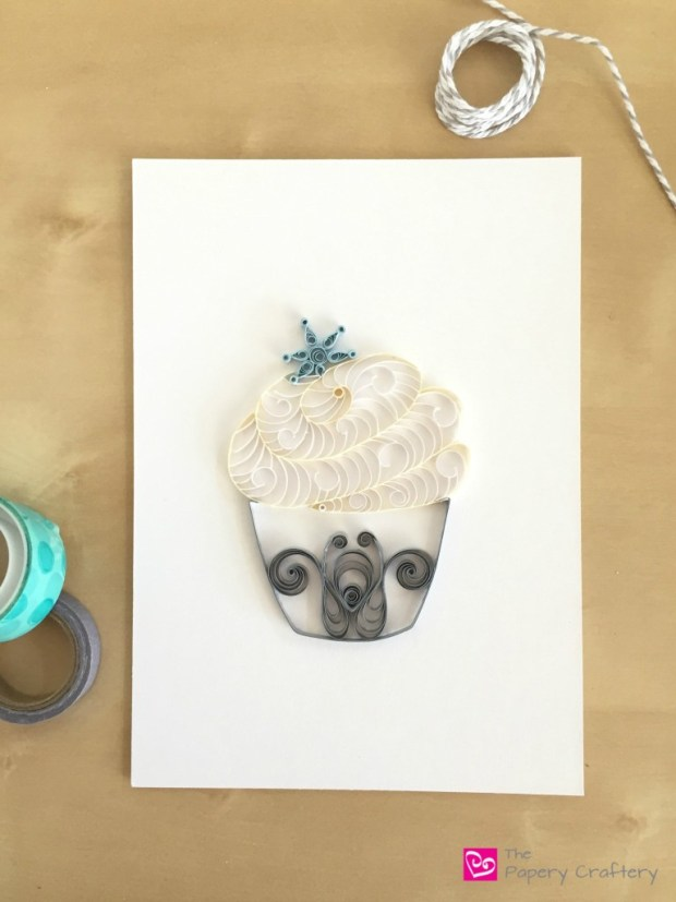 Silver and White Quilling Paper Cupcake Home Decor with Blue Snowflake Topper