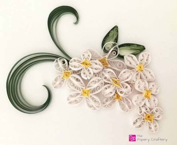 QuillingPaperWhiteLilac How to make simple quilling paper flowers - plumeria and lilacs