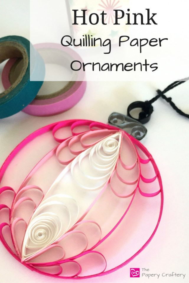 Hot Pink Quilling Paper Christmas Ornament for a bright and modern addition to your holiday tree! || www.thepaperycraftery.com