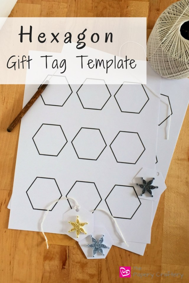 Hexagon shaped gift tag template Quilled Snowflake Gift Tags || www.thepaperycraftery.com