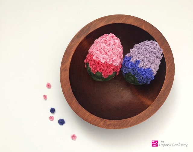 Quilling Paper Rosettes - Fold tiny flowers with quilling paper to make amazing ombré Easter eggs | ThePaperyCraftery.com