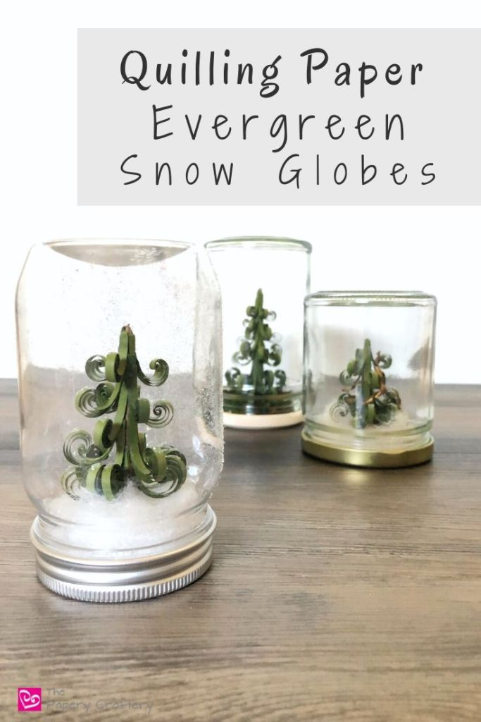 Quilling Paper Evergreen Snow Globes - How to make use of glass jars to turn your 3D quilling into simple winter snow globes | ThePaperyCraftery.com