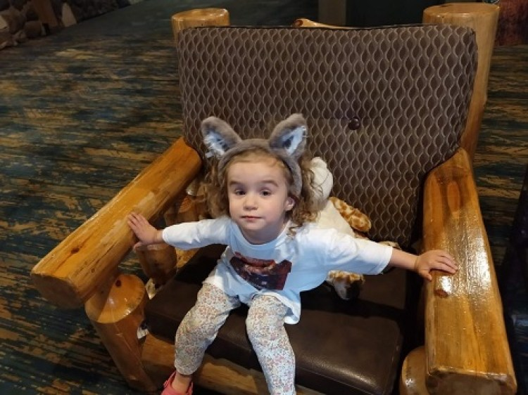 Great Wolf Lodge Lobby Sophie with wolf ears