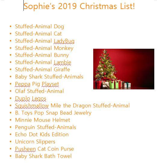 Christmas List Sophie