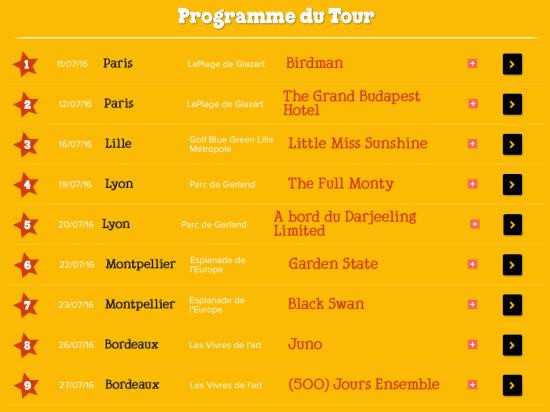 Programme du Tour Ben&Jerrys