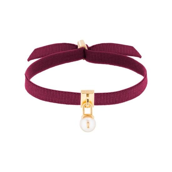 WORMS Paris_Bracelet U'rband Perle Cadenas Femme plaqué or jaune ruban bordeaux_PCDIV1002BOR_3