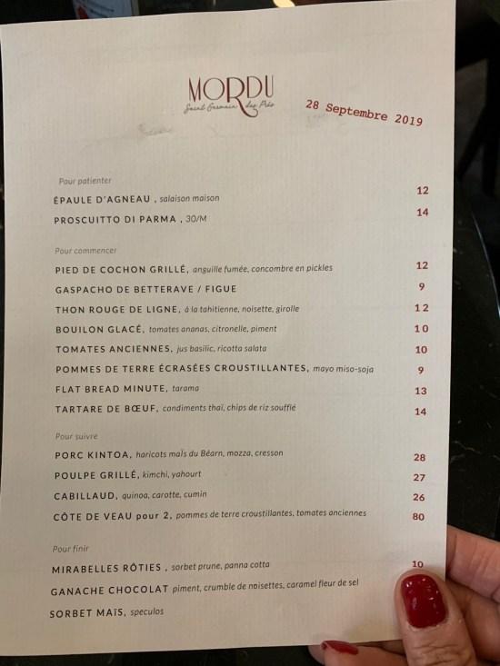 Restaurant Mordu - carte du soir