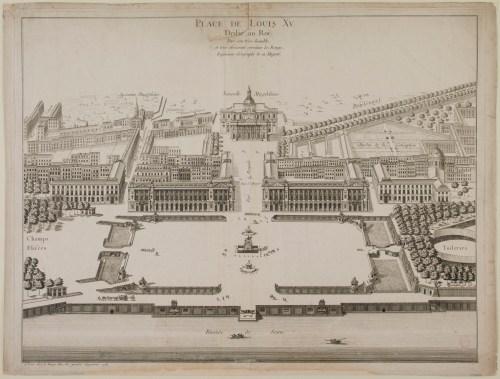 Anonyme. Place de Louis XV. Dédié au Roi. Eau-forte. Paris, musée Carnavalet.