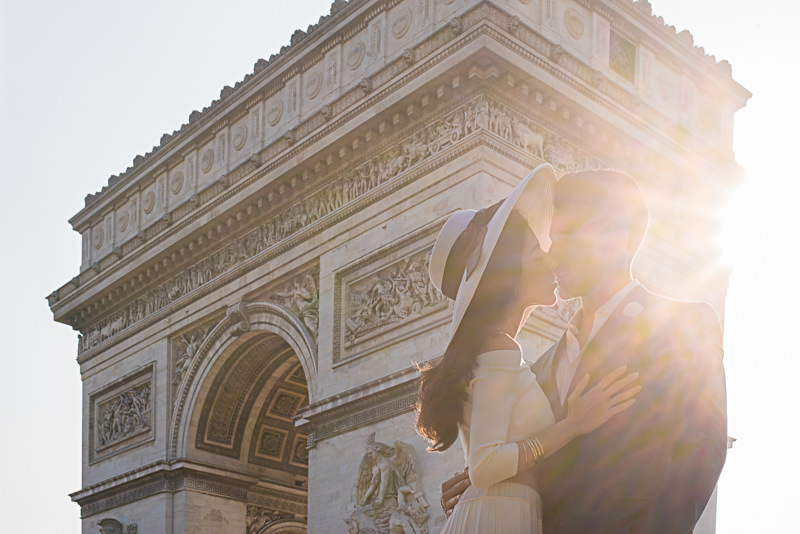Creative sunstar photo at Arc de Triomphe in Paris