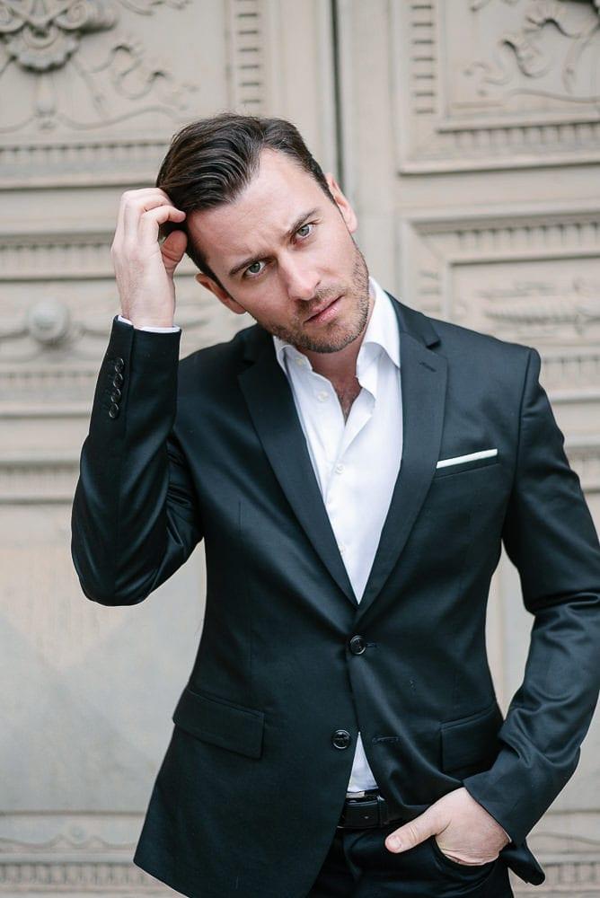 Portrait in Paris of an elegantly dress gentleman