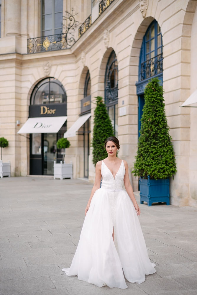 4. Bridal editorial photo shoot in Paris by The Paris Photographer in Place Vendome