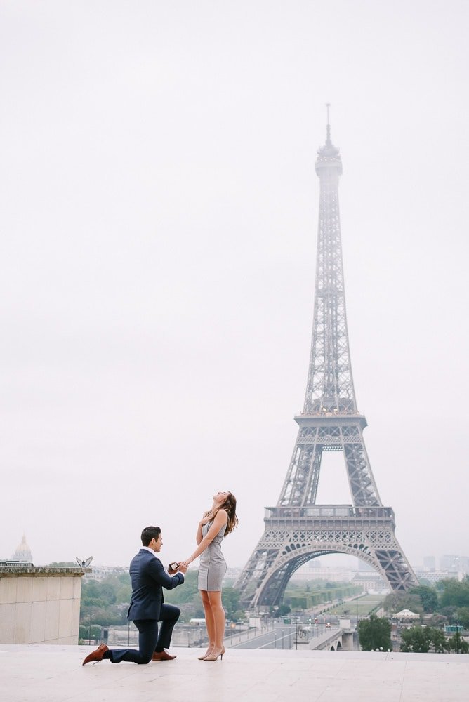 Paris proposal photographer - Real life surprise proposal at the Eiffel Tower