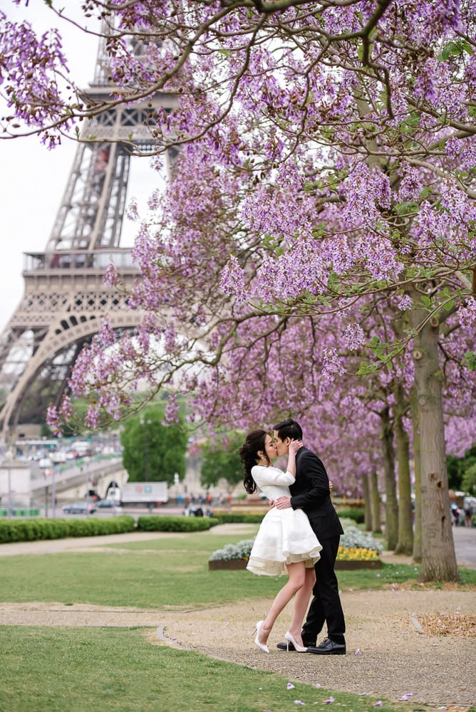 pre-wedding pictures beautiful white designer dress in paris