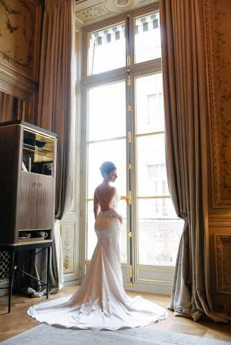 Bridal portrait at the Hotel Crillon Paris on the wedding day