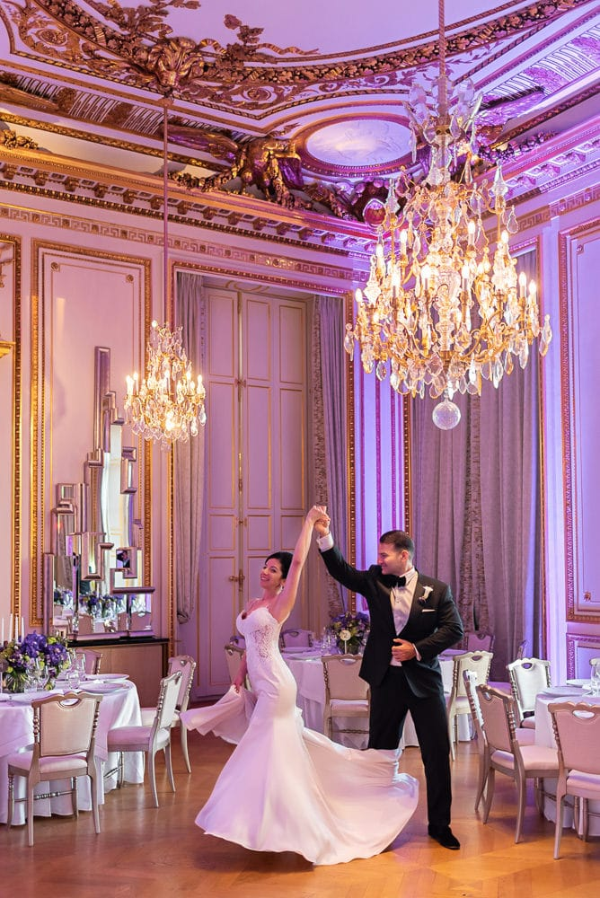 Bride and groom first dance in the Salon des Batailles of the sumptuous Hotel Crillon Paris