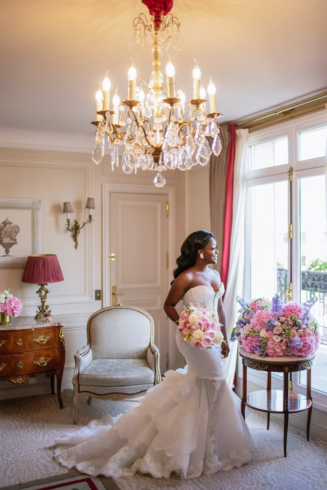 Plaza Athenee Paris Wedding - Bridal portrait in  the hotel room