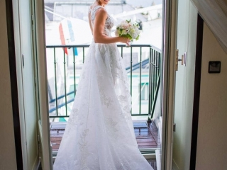 Bridal portrait at the peninsula paris garden suite overlooking the Oiseau Blanc airplane