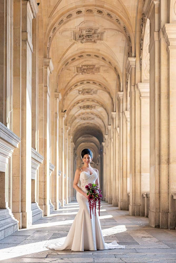 Hotel Crillon Paris wedding – Louvre Museum portraits -2