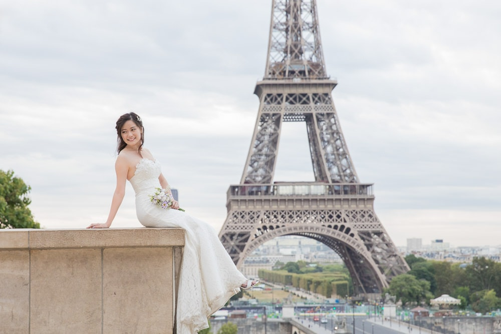 Bridal portrait for pre wedding pictures in Paris