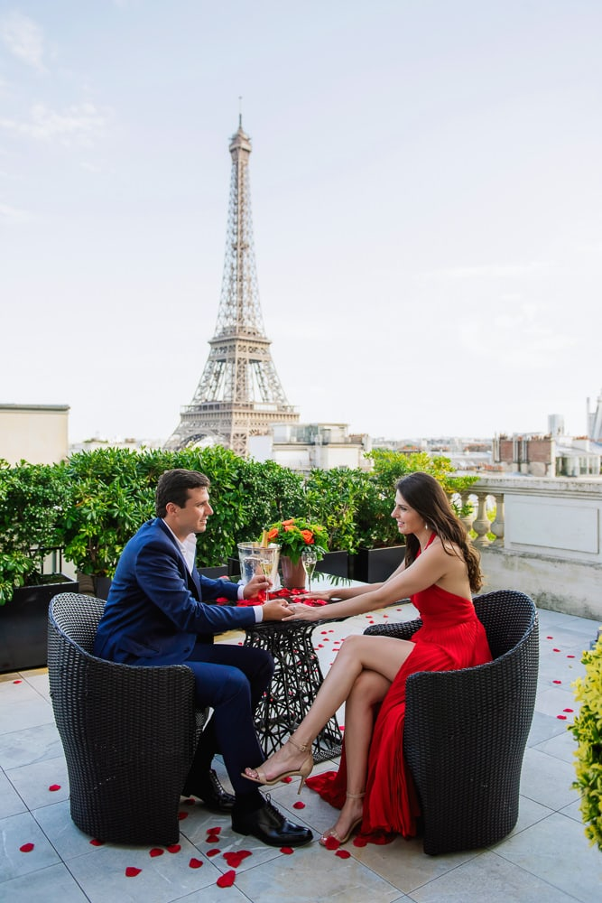 Private Eiffel Tower proposal at the Shangri La hotel