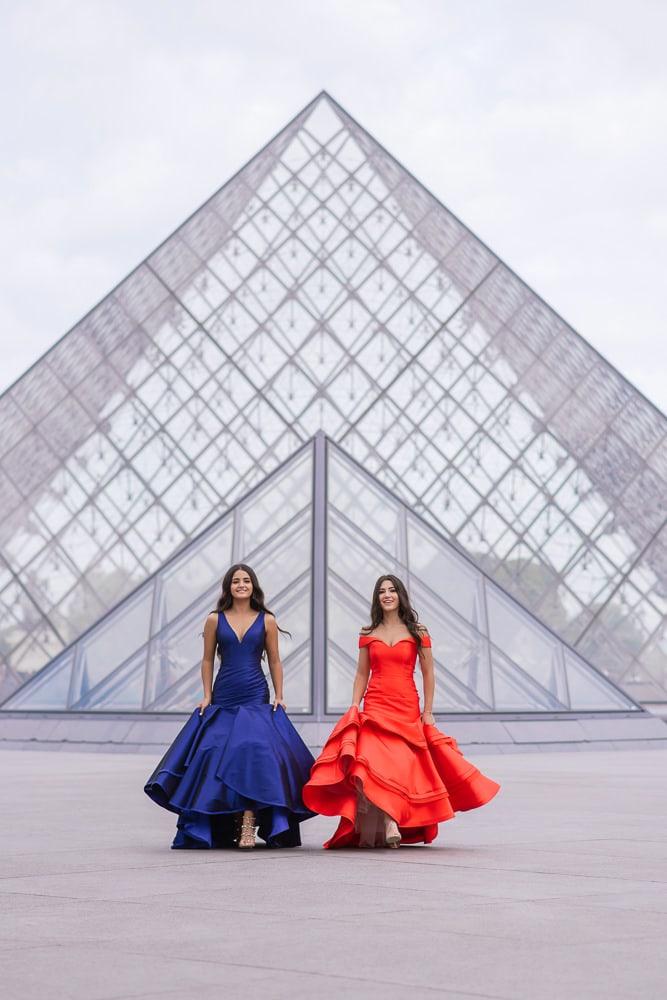 quinceanera photo shoot - two beautiful girls walking in Paris