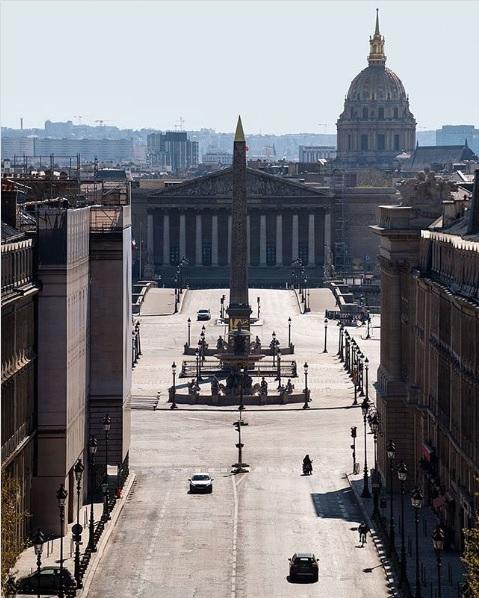 Place de la Concorde during Covid-19 pandemic in Paris, France - April 2020