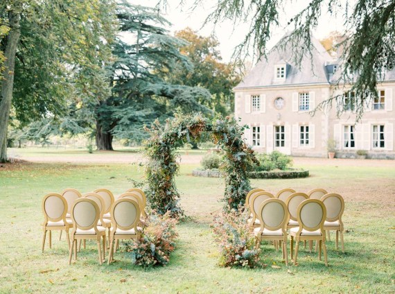 Wedding ceremony setup at Chateau Bouthonvilliers near Paris