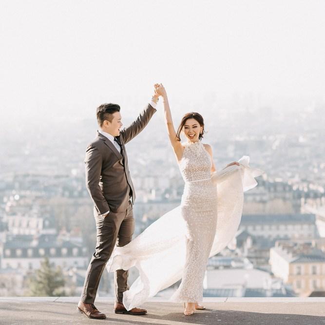 Happy pre wedding dancing photo in Montmartre Paris France by Odrida