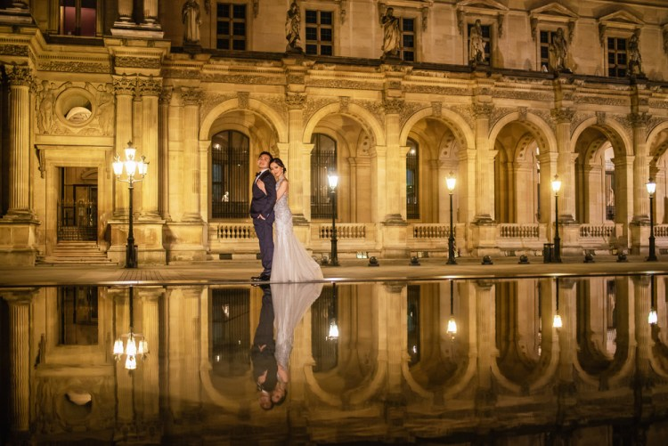 Wedding photography at night in Paris