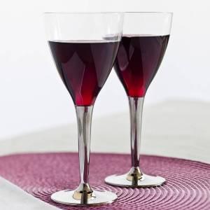 Silver Stemed Plastic Wine Glasses