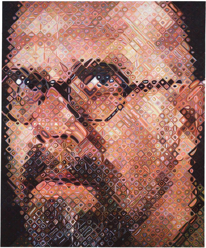 "When you study a Chuck Close painting up close, you see individual ""pixels"" that, when viewed from a distance, look completely different. The sum is greater than the parts. © Chuck Close"