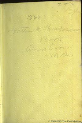 Inside cover of Hattie A. Thompson's photo album