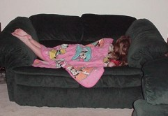 My youngest after a hard day at play! She needs her Baptist Hour.