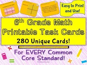 6th Grade Math Task Cards