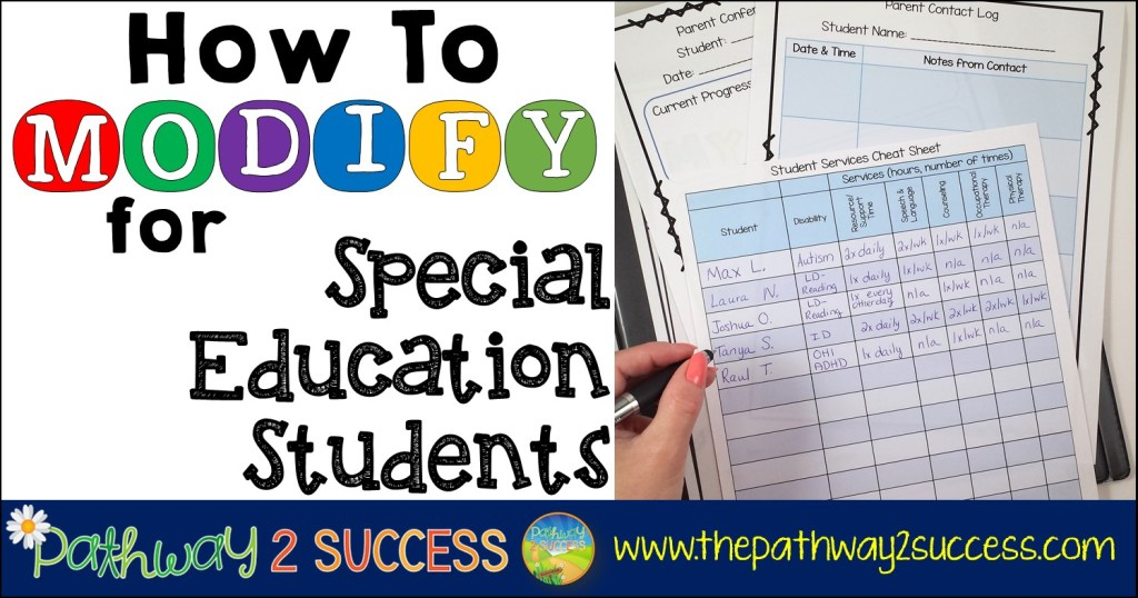 How to modify for special education students in the classroom! Read this post to get ideas for providing inclusion support to elementary, middle, and high school learners.