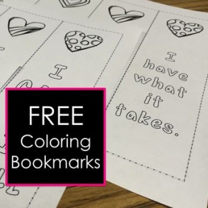 Self esteem coloring bookmarks