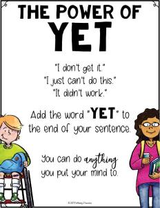 "Free growth mindset ""the power of yet"" posters and more to help kids and young adults with social emotional learning skills. #sel #socialemotionallearning #pathway2success"