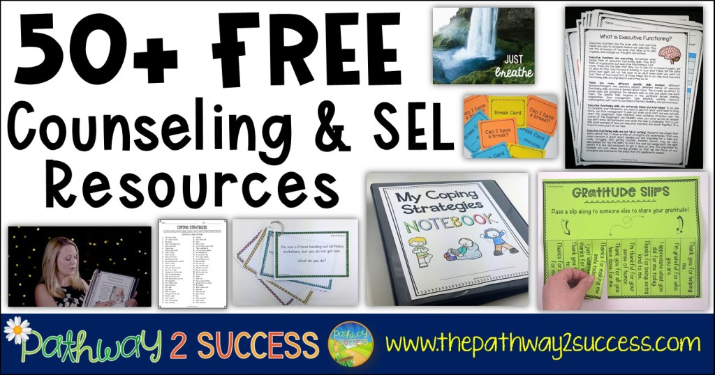 50+ FREE counseling and social emotional learning resources for kids and teens. Resources include printable worksheets, online materials, apps, videos, and more. #mentalhealth #counseling #sel #socialskills #pathway2success