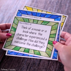 Free growth mindset task cards and more to help kids and young adults with social emotional learning skills. #sel #socialemotionallearning #pathway2success