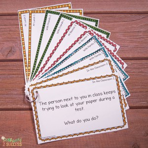 Free social problem solving task cards and more to help kids and young adults with social emotional learning skills. #sel #socialemotionallearning #pathway2success