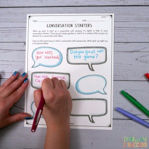 Free conversation skills lessons and more to help kids and young adults with social emotional learning skills. #sel #socialemotionallearning #pathway2success