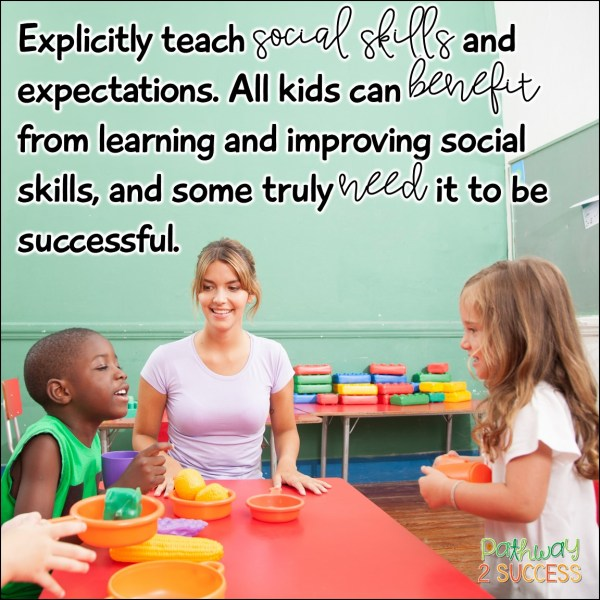 Strategies for kids with executive functioning challenges: Explicitly teach social skills and expectations. All kids can benefit from learning and improving social skills, and some truly need it to be successful. #socialskills #executivefunctioning #pathway2success