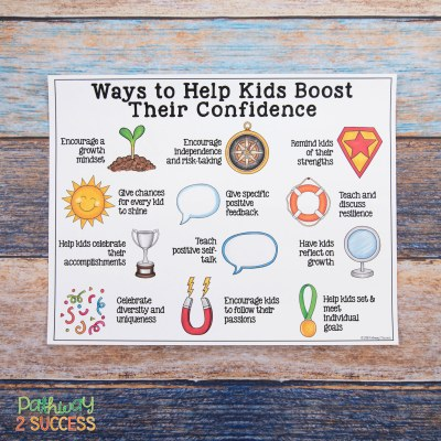 Activities and ideas to help children and young adults boost confidence and self-esteem. By teaching kids to compliment themselves, use positive self-talk, set goals, and celebrate their accomplishments, kids can see that their hard work can pay off! #confidence #kids #teens #pathway2success