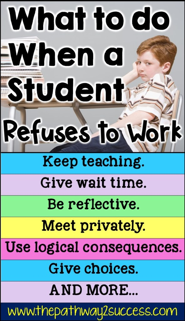 What to do when a student is refusing to work. Strategies and ideas for educators working with elementary, middle, and high school kids who are oppositional and not following directions to complete work. #specialeducation #pathway2success