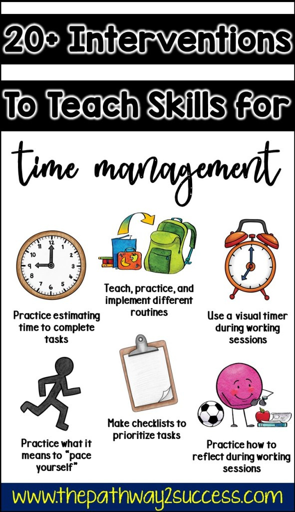 20+ interventions and strategies for kids who struggle with time management! This blog post includes tools, tips, ideas, and printable resources for school AND at home to help young adults and teens learn to use time wisely, procrastinate less, and complete tasks well. Great for students with executive functioning challenges, ADHD, and more. #executivefunctioning #timemanagement #pathway2success