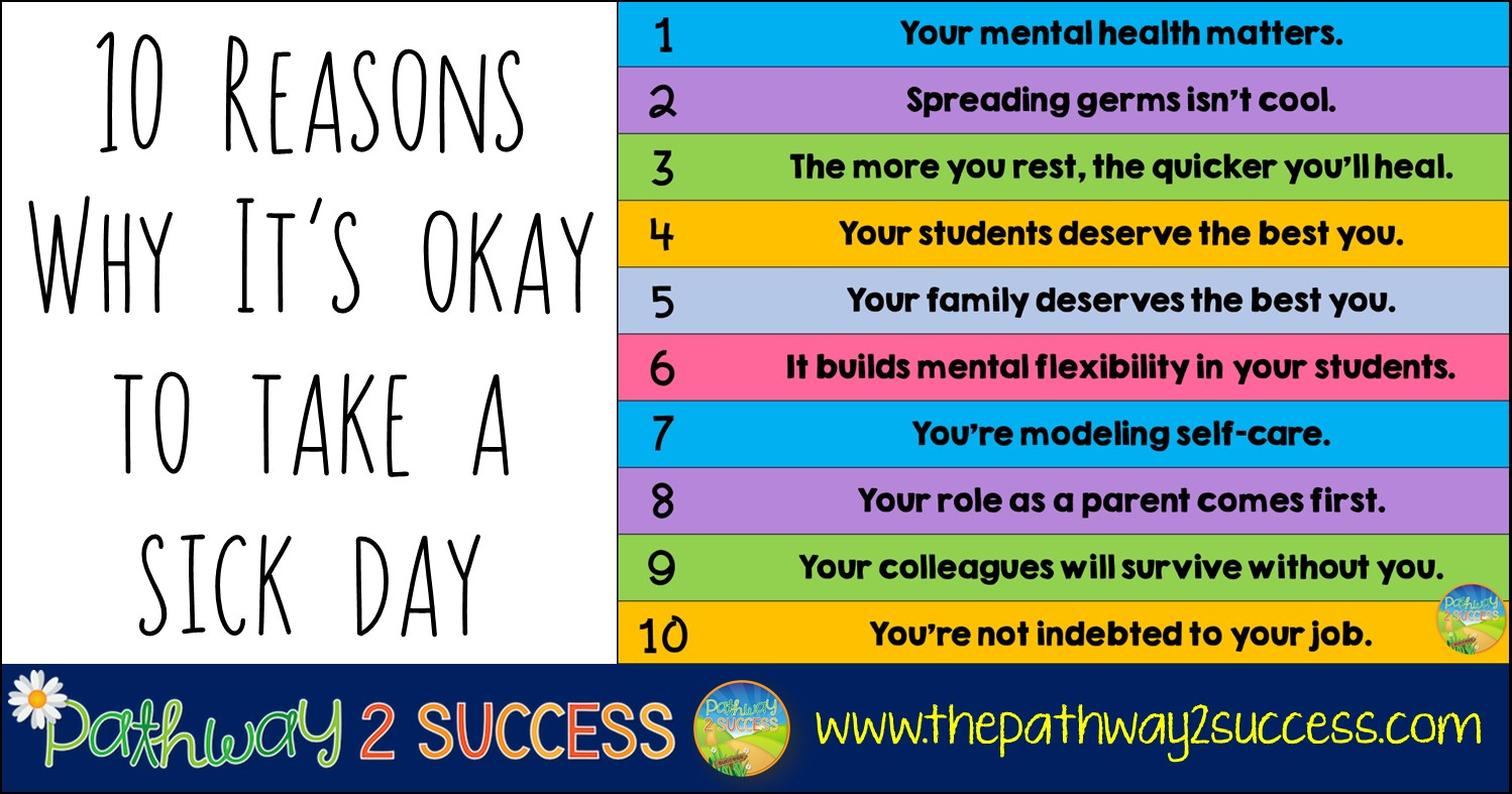Educators need to be able to take sick days when they need them for physical and mental health needs. Instead of worrying about everyone else, teachers and support staff need to stop and focus on themselves! Here are 10 reasons why. #selfcare #pathway2success