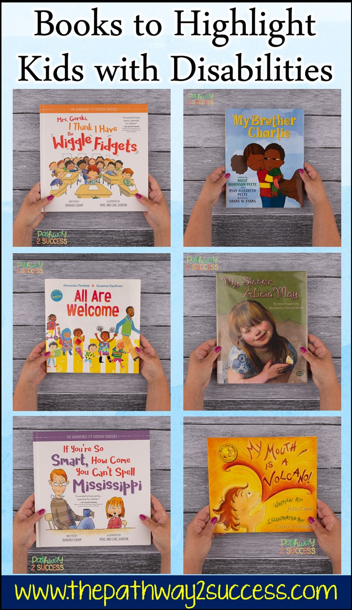 Nine books to help highlight and discuss kids and teens with disabilities, like ADHD, autism, and more. These are perfect for class read alouds and a great way to celebrate diversity! #pathway2success