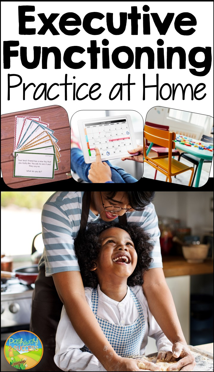 Strategies for parents and educators to help support executive functioning skills at home. Post includes some free digital and printable resources, along with several tips for organization, attention, planning, self-control, and more. #pathway2success